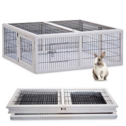 Dřevěný výběh pro králíky - bílý XL
