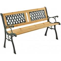 Zahradní lavička Epsilon - kovová se dřevem, 122 x 54 x 73 cm