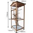 Voliéra pro ptáky - velikost M - masivní dřevo, 89 x 67 x 173 cm