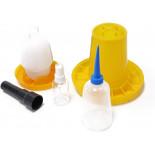 Základní sada pro líhnutí - SET - krmítko, napáječka, postřikovač vajec, flaštička a prosvětlovačka vajec